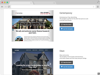 several real estate listing website tempalates to choose from for selling or renting houses